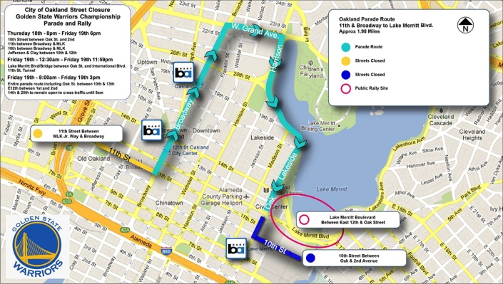 Golden State Warriors Victory Parade Route Map